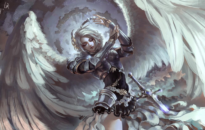 Photo wallpaper girl, weapons, wings, sword, armor, anime, warrior, art, ku gu de San
