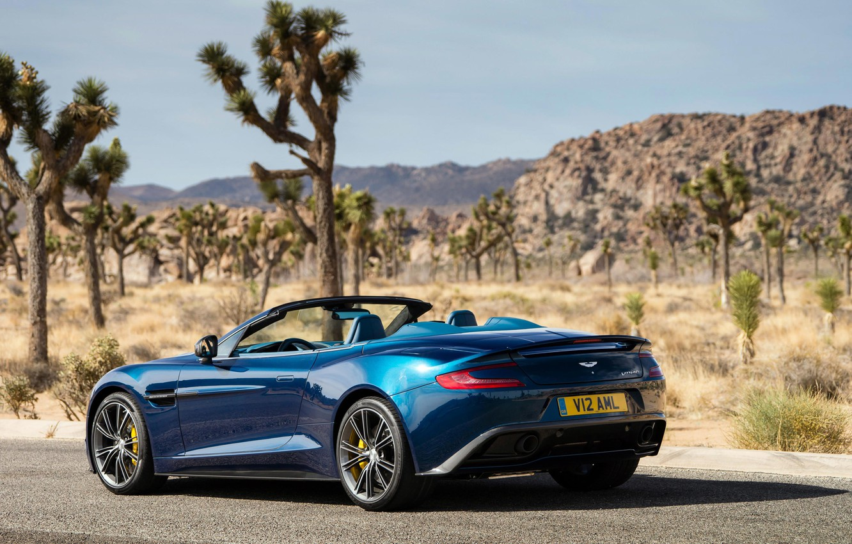 Photo wallpaper blue, Aston Martin, Aston Martin, back, Vanquish, Volante