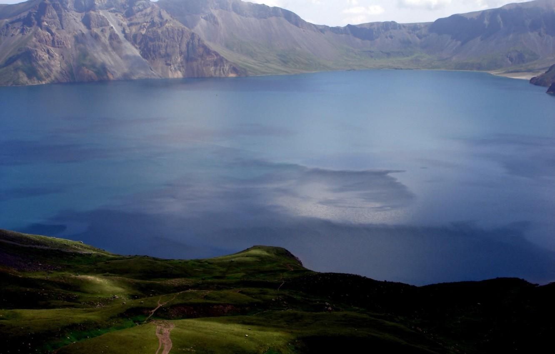 Photo wallpaper greens, landscape, mountains, lake