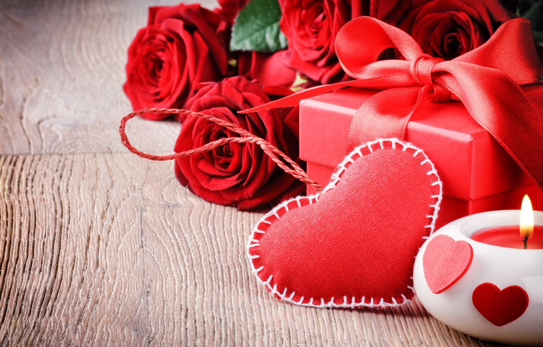 Photo wallpaper love, gift, roses, love, heart, romantic, Valentine's Day