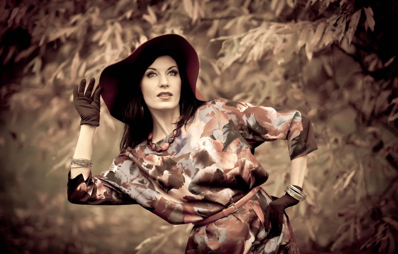 Photo wallpaper look, girl, nature, pose, hat, dress, brunette, gloves