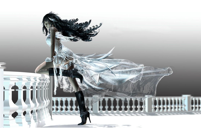 Photo wallpaper girl, dress, balcony
