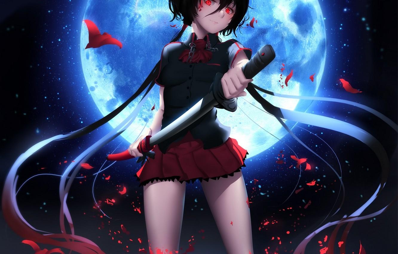 Photo wallpaper girl, night, smile, weapons, the moon, katana, anime, art, form, schoolgirl, blood+, kisaragi I