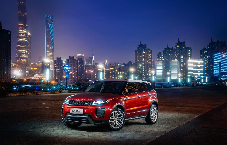 Photo wallpaper car, machine, city, the city, lights, lights, Land Rover, Range Rover, Evoque, HSE Dynamic