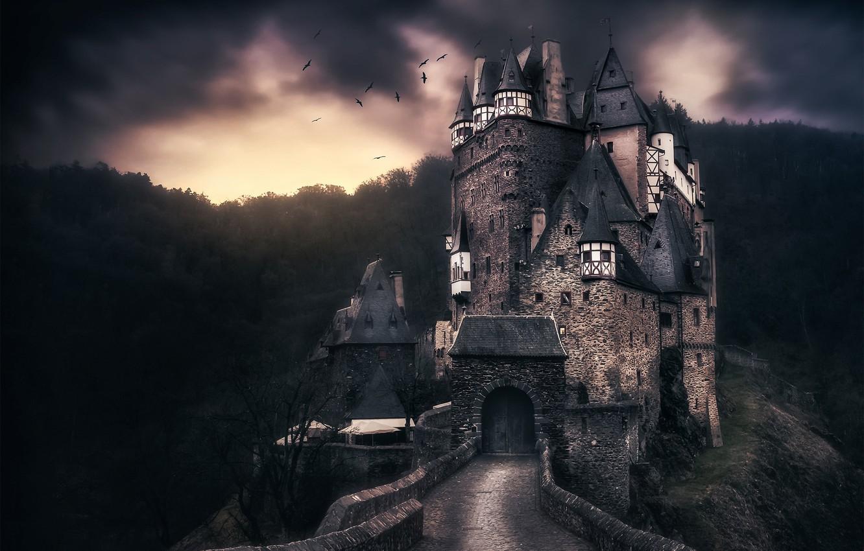 Photo wallpaper clouds, birds, clouds, castle, Germany, ELTZ