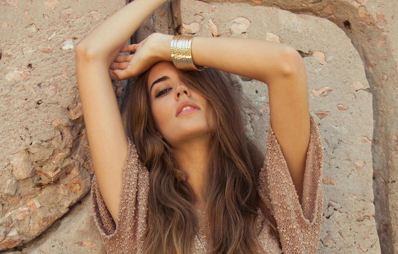 Photo wallpaper girl, face, pose, model, hands, bracelets, Clara Alonso