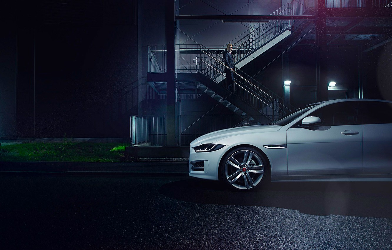 Photo wallpaper Jaguar, Car, White, Side, Automotive, Premium, 2015, Ligth, Nigth