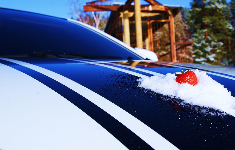 Photo wallpaper Macro, Snow, Strawberry, The hood