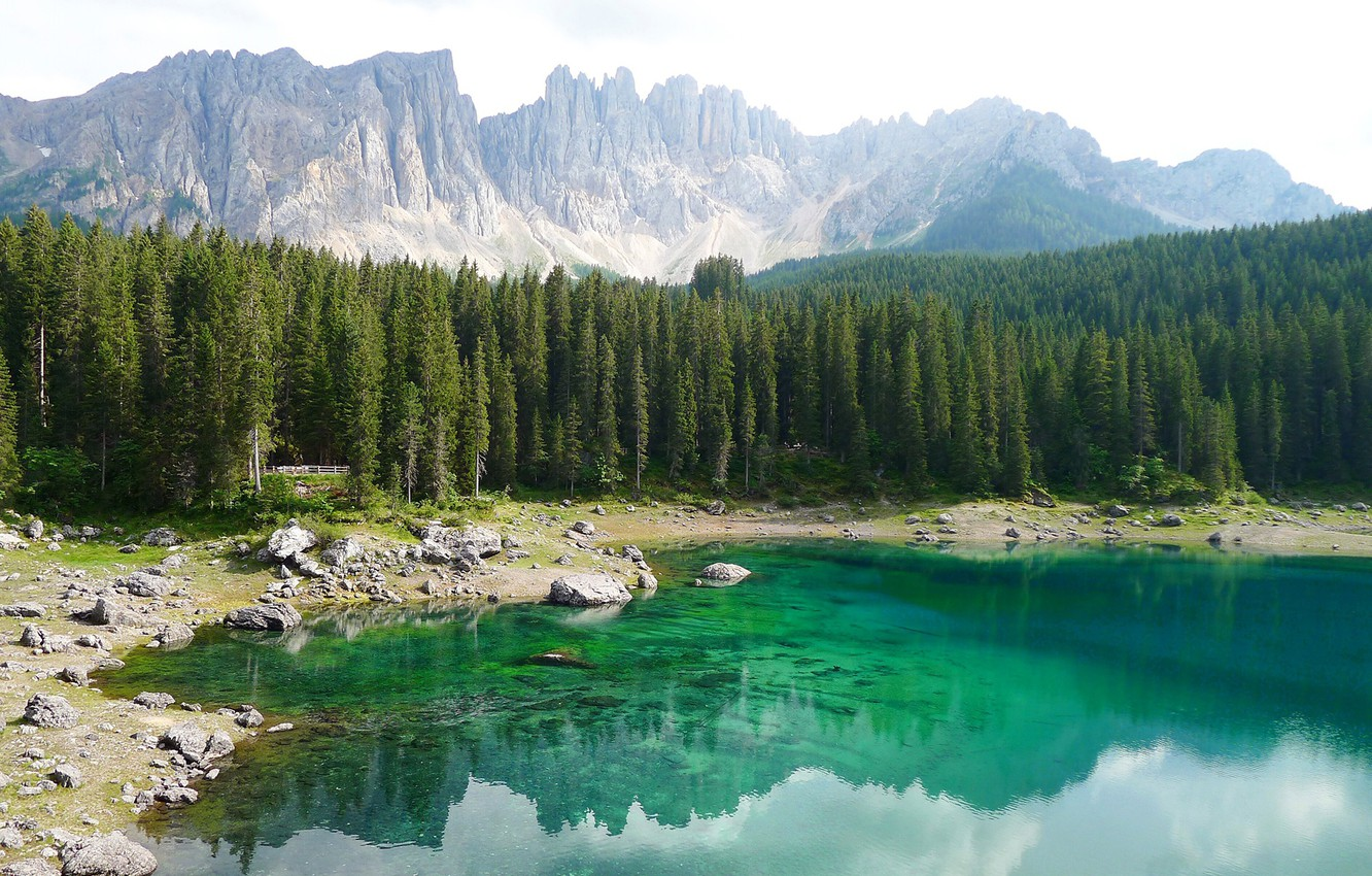 Wallpaper forest, trees, mountains, lake, stones, rocks, shore, Italy, South Tyrol, The Dolomites, Karersee, Carezza images for desktop, section пейзажи - download
