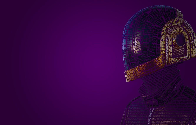 Photo wallpaper music, helmet, words, daft punk, typography, Guy-Manuel de Homem-Christo