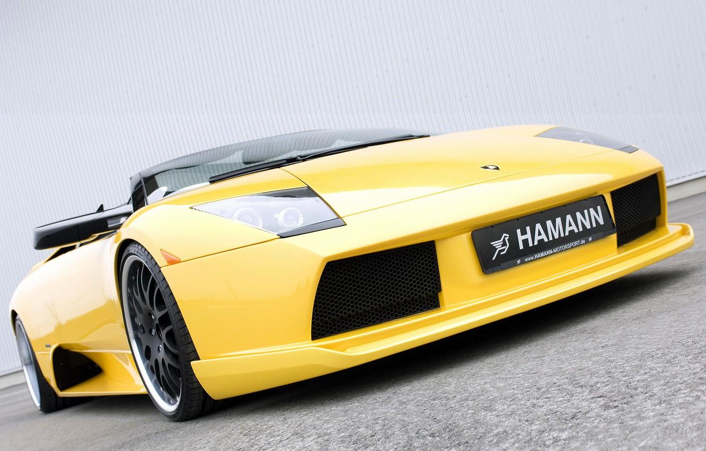 Photo wallpaper yellow, Roadster, Lamborghini, Hamann, supercar, front view, tuning, Murcielago