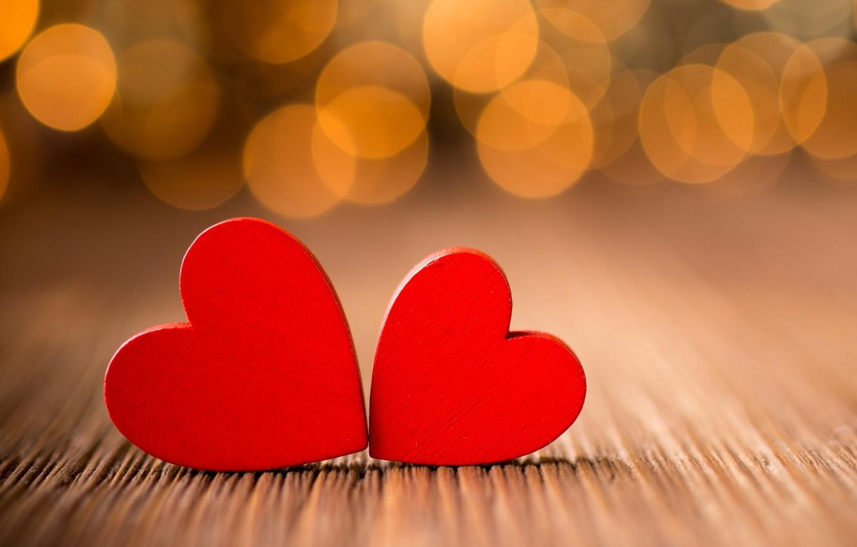 Photo wallpaper macro, lights, table, tree, heart, hearts, red, bokeh