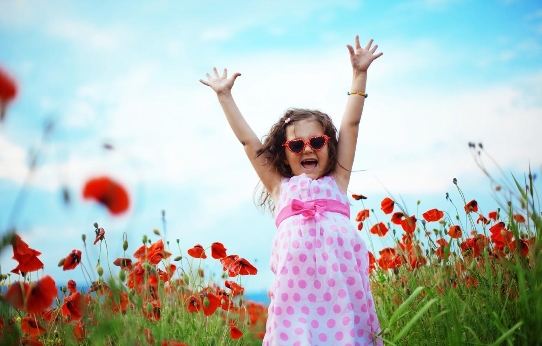 Photo wallpaper field, summer, grass, joy, nature, children, mood, Maki, laughter, girl