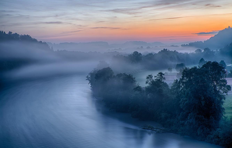 Photo wallpaper fog, river, dawn, morning, Germany, Bayern
