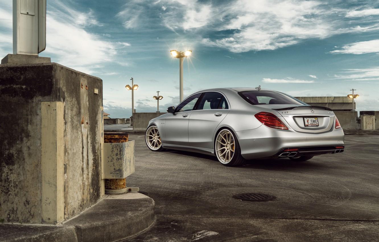 Photo wallpaper Mercedes-Benz, Matte, Sedan, Silver, Wheels, Outdoor, Rear, S63, ADV.1