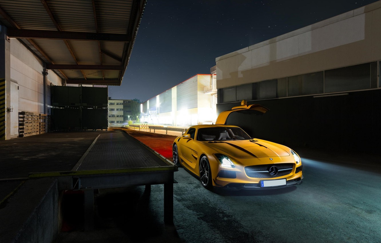 Photo wallpaper Mercedes-Benz, Light, AMG, SLS, Night, Yellow, Supercar, Doors Gull