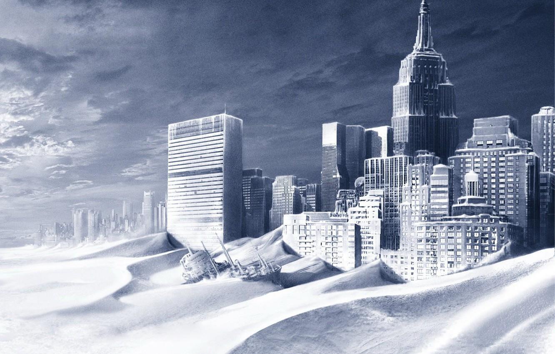 Photo wallpaper snow, ship, building, New York