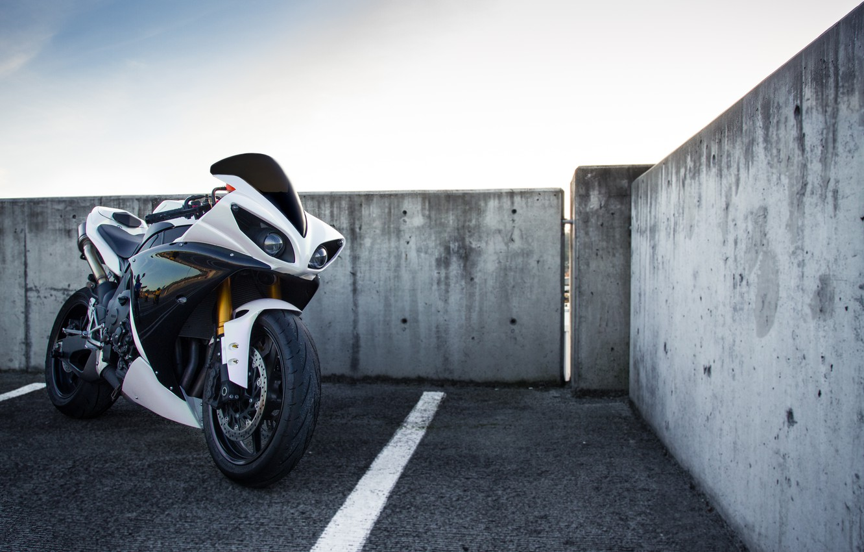 Photo wallpaper white, the sky, clouds, motorcycle, white, yamaha, sky, Yamaha, yzf-r1