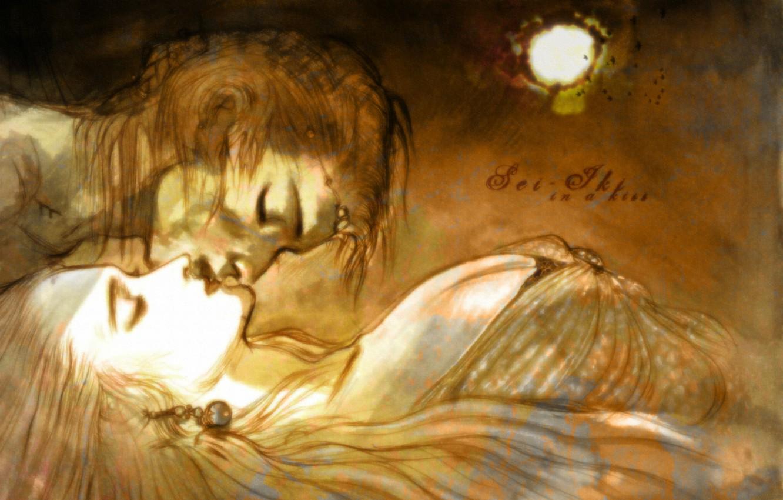 Photo wallpaper the moon, figure, kiss, two, art, closed eyes, yoshi want amano