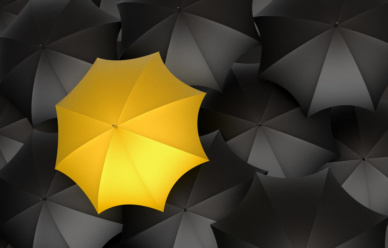 Photo wallpaper yellow, umbrellas, black color