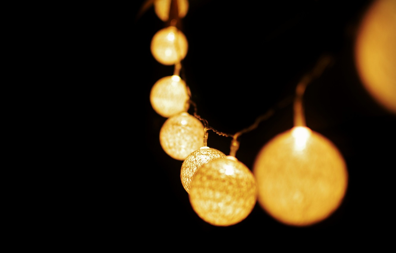 Photo wallpaper light, garland, lanterns