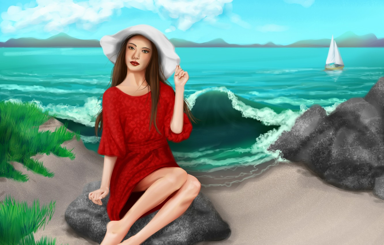 Photo wallpaper sand, sea, the sky, look, girl, clouds, hat, art, legs, painting, red dress