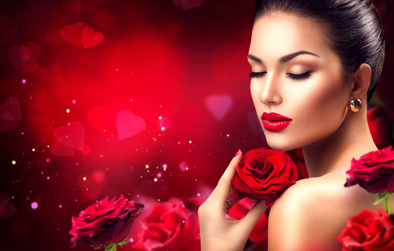 Photo wallpaper Girl, Brunette, Model, Flowers, Style, Roses, Makeup, Manicure, Earrings, Backgrounds, Anna Subbotina, Glamor, Anna Subbotina, …
