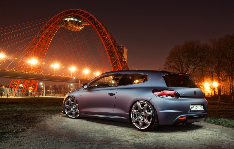 Photo wallpaper night, the city, engine, speed, Volkswagen, max, the volume, box, sports, mechanics, Volkswagen, Scirocco R, …