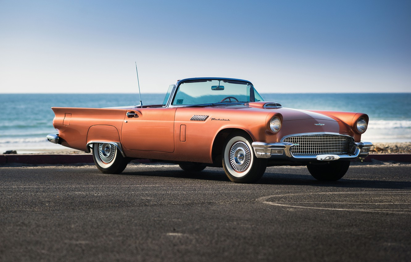 Photo wallpaper sea, Ford, Ford, classic, Special, 1957, Supercharged, Thunderbird, T-Bird