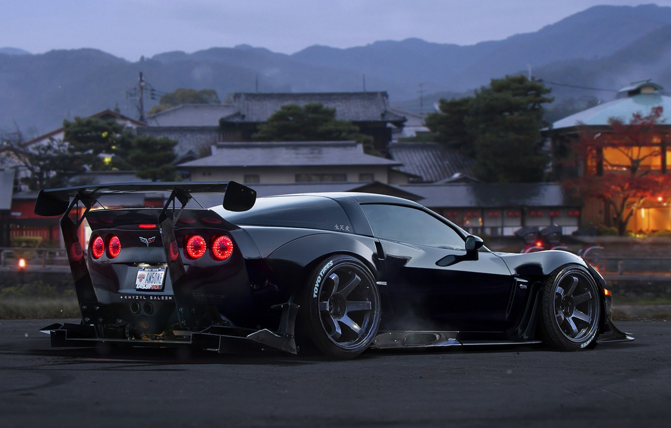 Photo wallpaper Corvette, Chevrolet, Car, Race, Black, Tuning, Future, by Khyzyl Saleem