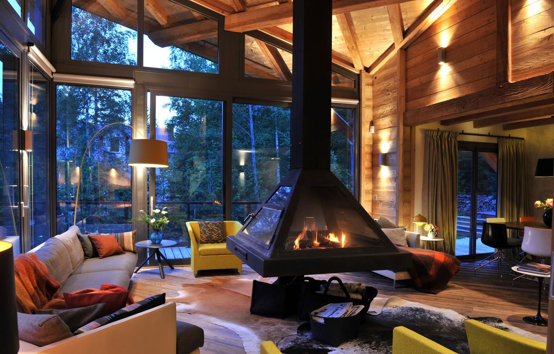 Photo wallpaper design, house, furniture, interior, fireplace