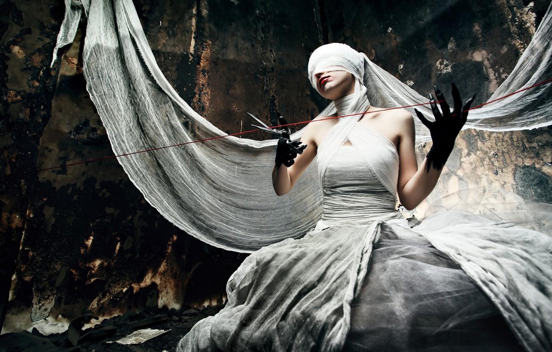Photo wallpaper woman, scissors, creepy, bandages, cloth, thread, black hands