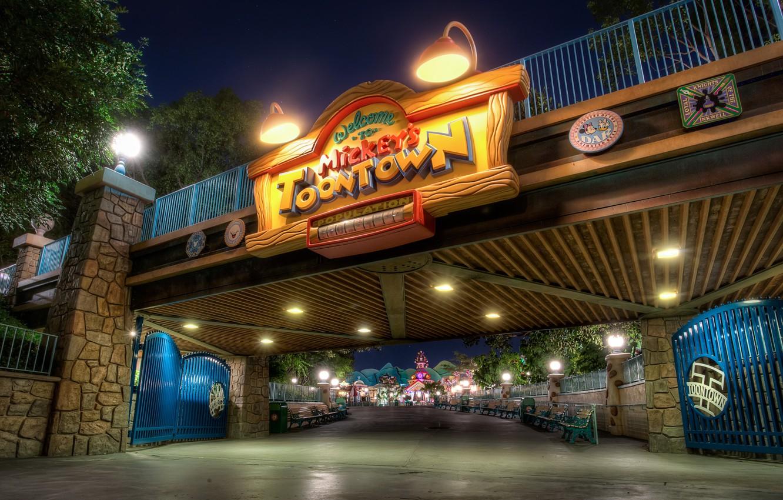 Photo wallpaper Night, CA, USA, Disneyland, Bridges