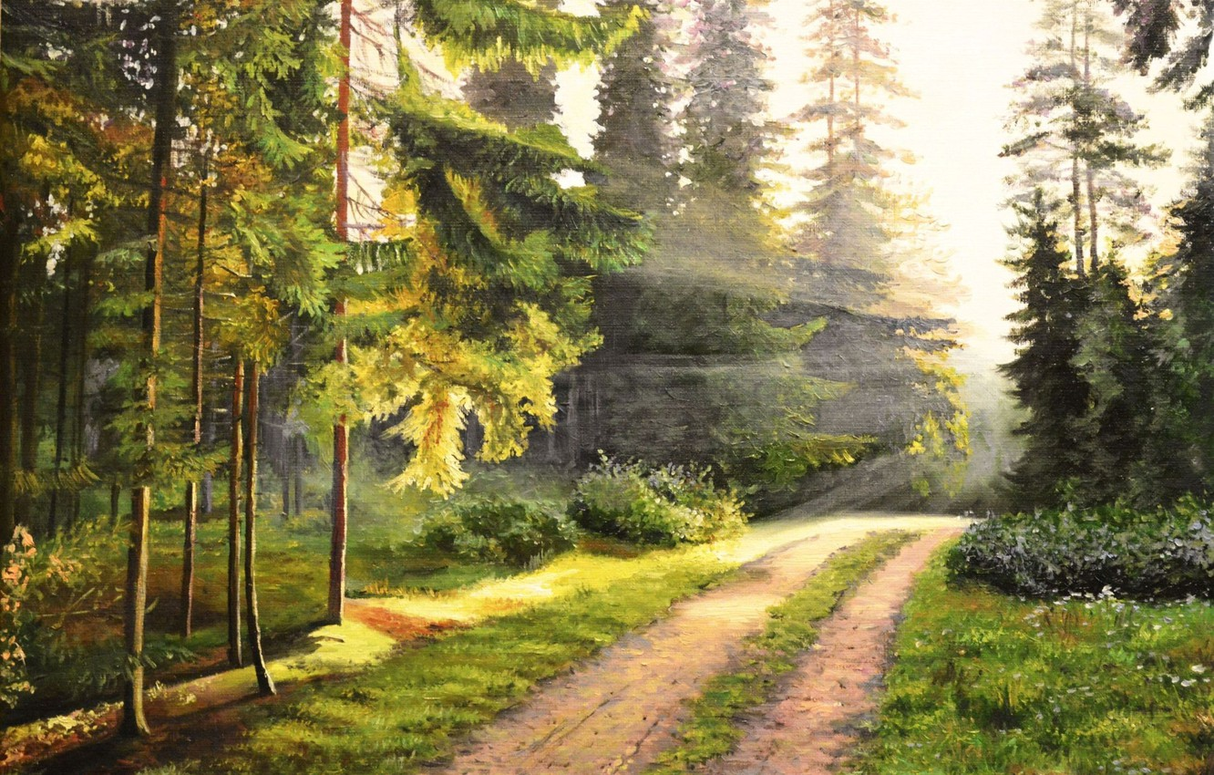 Photo wallpaper road, forest, rays, landscape, dawn, picture, morning, painting, awakening, Lutsenko