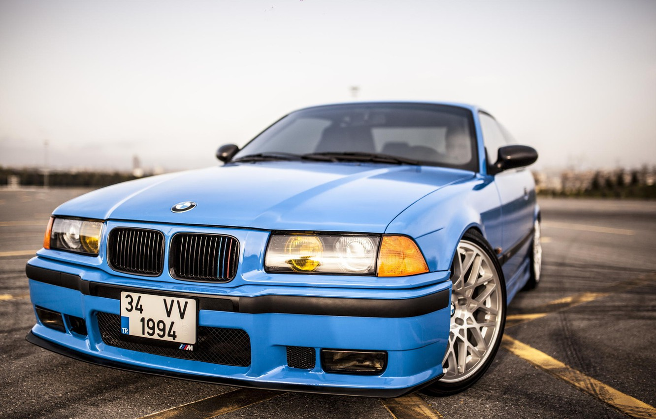 Photo wallpaper Road, BMW, Blue, BMW, Red, blue, oldschool, 3 series, E36, Stance