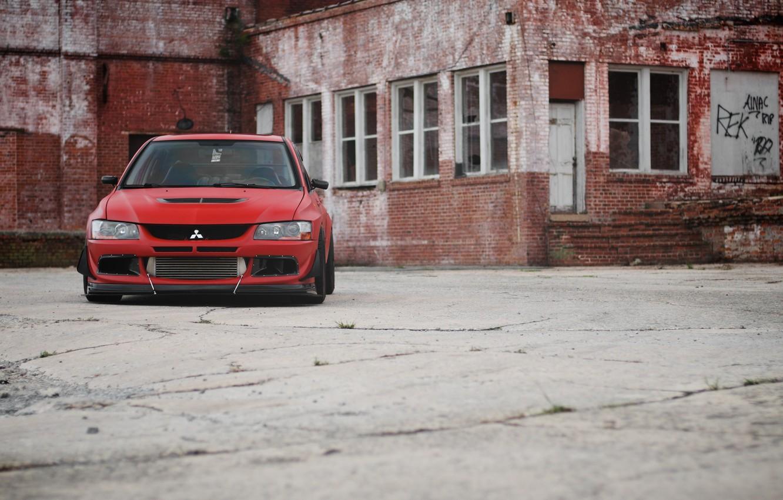 Photo wallpaper Red, Mitsubishi, Lancer, Red, Lancer, Evolution 9, Mitsubishi, Evolution 9