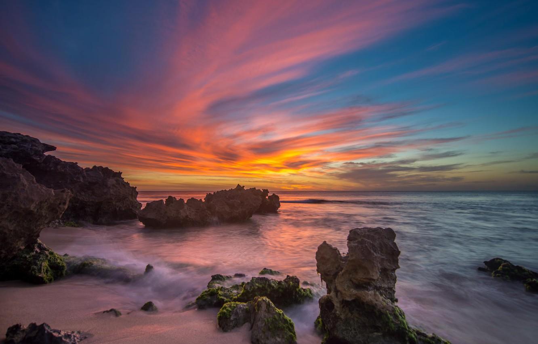 Photo wallpaper landscape, sunset, the ocean, rocks