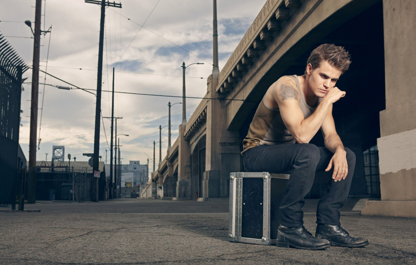 Photo wallpaper photo, rose, advertising, tattoo, actor, Paul Wesley, Paul Wesley, clothes