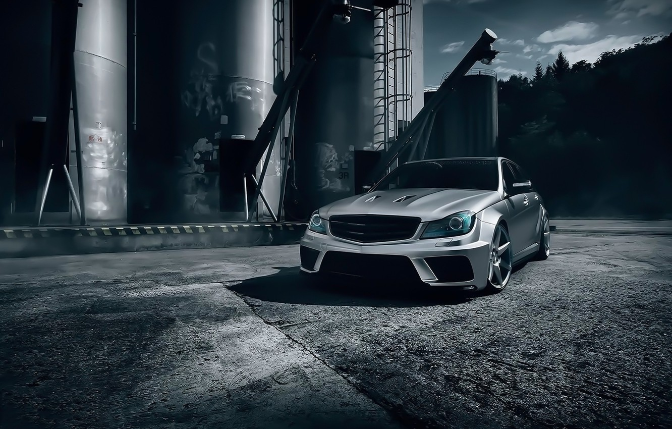 Photo wallpaper Mercedes-Benz, Front, AMG, Black, Color, Series, C63, Silver, T-Modell