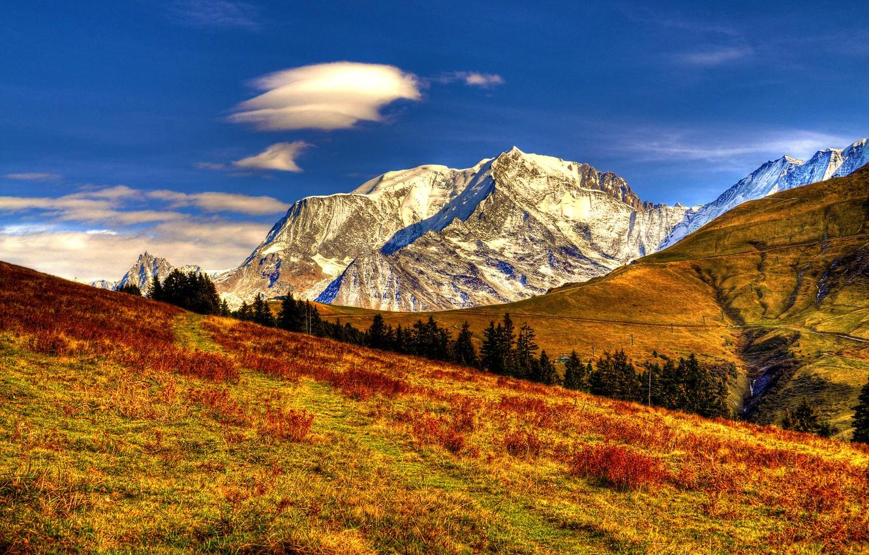 Photo wallpaper autumn, the sky, clouds, landscape, mountains, nature