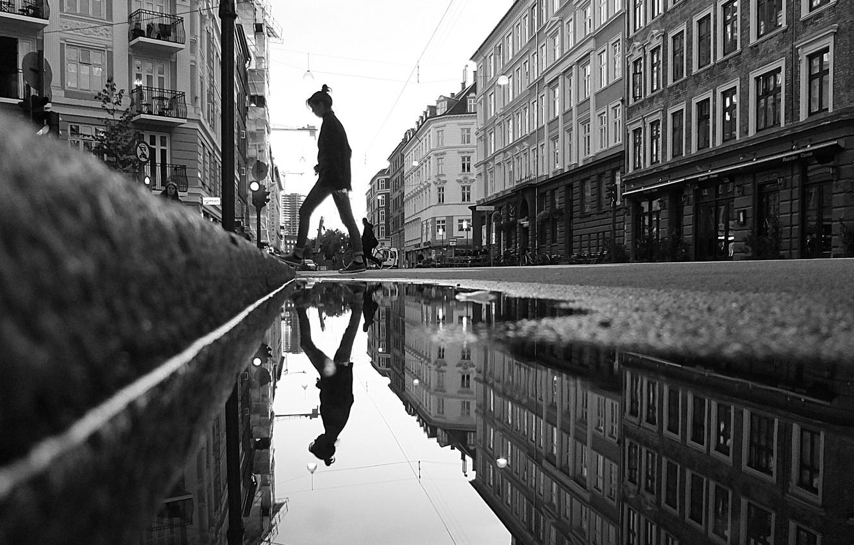 Wallpaper Girl Bike Reflection People Building Mirror