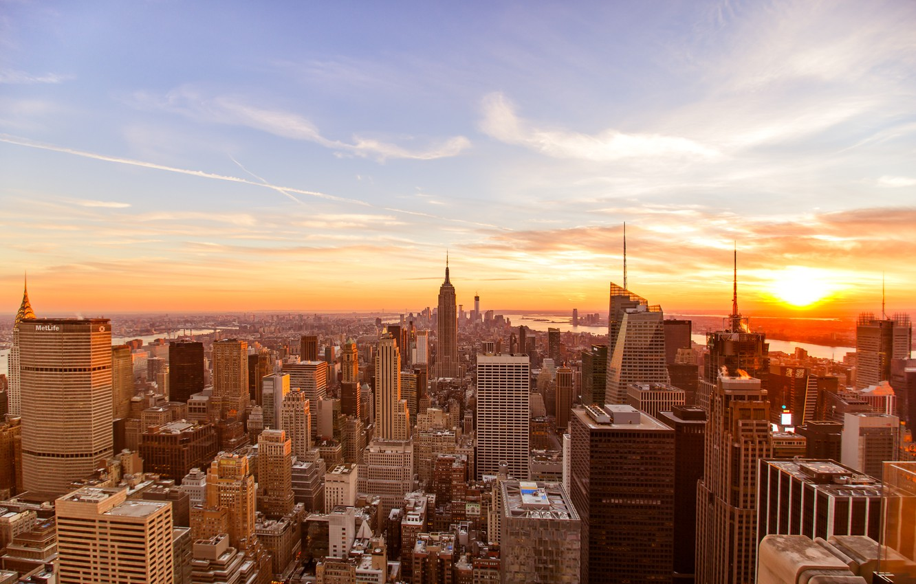 Wallpaper Usa United States Sunset New York Manhattan Nyc New York City Skyline Empire State Building Chrysler Building Buildings Midtown Architecture Skyscrapers Structure America Images For Desktop Section Gorod Download