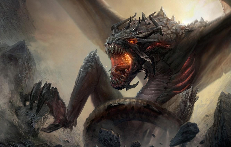 Photo wallpaper mountains, rocks, dragon, wings, monster, art, rage, mouth