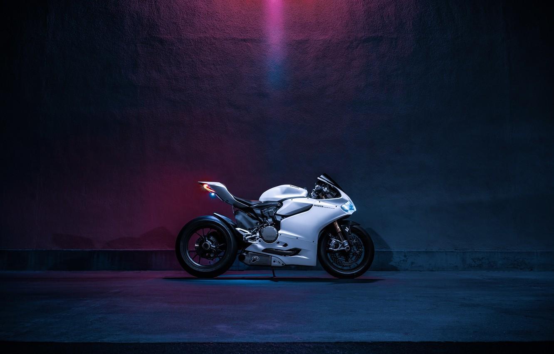 Photo wallpaper Light, Ducati, Side, Bike, Panigale, Fast, Motorcycle, Enlaes, 1199S