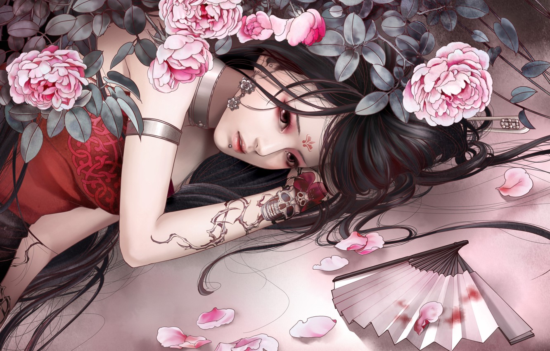 Photo wallpaper sadness, girl, mood, skull, roses, petals, tattoo, fan