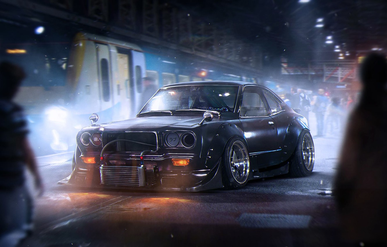 Photo wallpaper Dark, Mazda, Black, Tuning, Future, Savanna, by Khyzyl Saleem, RX-3