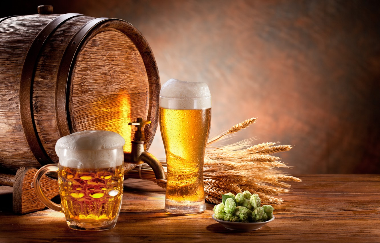 Photo wallpaper foam, glass, beer, mug, ears, barrel, malt, light, hops