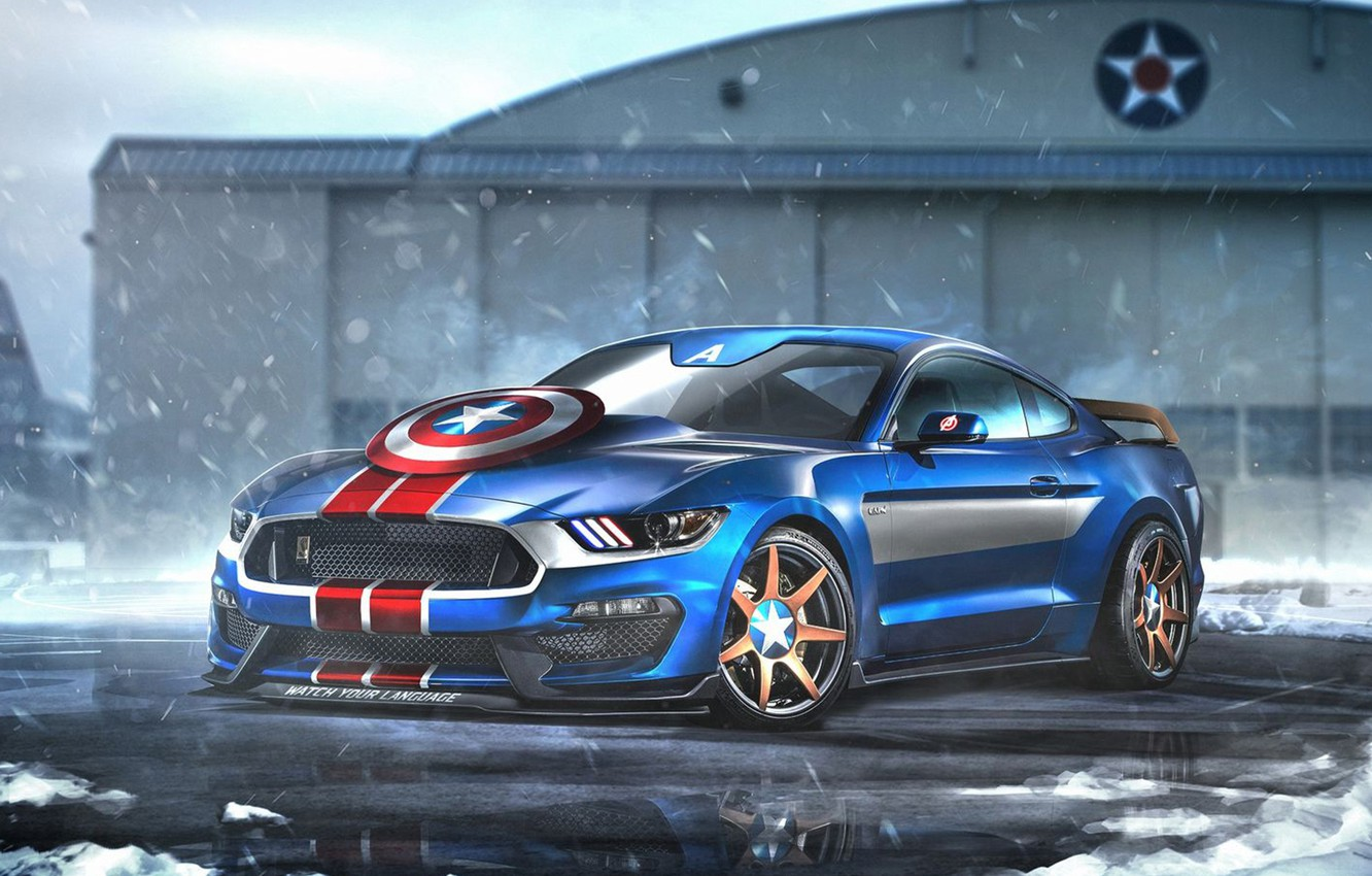 Photo wallpaper auto, Ford, Mustang, Superheroes, auto, superhero, Marvel, Captain America, Captain America, Marvel, Ford Mustang Shelby …