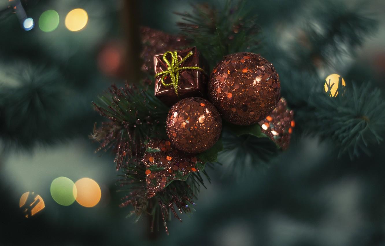 Photo wallpaper gift, balls, red, decoration, Christmas