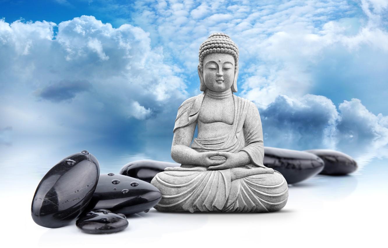 Photo wallpaper the sky, clouds, statue, religion, Buddha